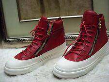 Auth Giuseppe Zanotti Zipped Leather High Top Trainers Shoes Size 40