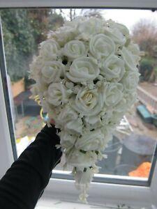 Shower Bouquet Ivory Rose & Stephanotis Diamante Wedding Flowers Posy Artifical