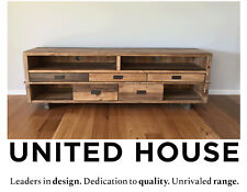 Rustic Industrial Timber TV Entertainment Unit Side Board Cabinet Wood Furniture