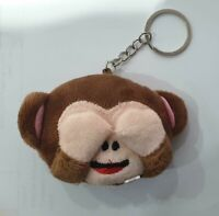 Cheeky Monkey Cute Animal Keyring Key Chain Cuddly Soft Dark Brown Plush Fluffy