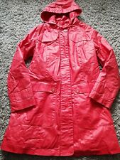 Per Una Stormwear Tench Long Coat Waterproof Size 14 Red Wax Feel Bnwot