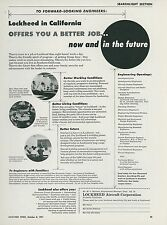 1951 Lockheed Aircraft Employment Ad Engineers Aviation Better Job Now & Future