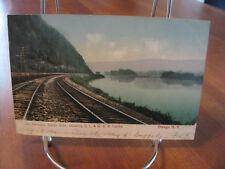 """1906 """"The Narrows, South Side, Showing D.L. & W.R.R. Tracks"""" Owego N.Y. Postcard"""