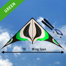 """NEW 70"""" Sport Stunt Kite Dual-Line 6ft Wing Span Delta Outdoor Flying GREEN"""