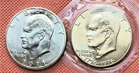 1971 and 1976 S EISENHOWER BU 40% SILVER IKE DOLLAR LOT of 2 US COINS