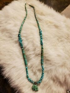 "Beautiful 22"" Turquoise, Turquoise Bear and Sterling Silver Necklace"