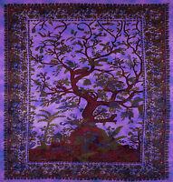 Lila Rot Blau indischer Lebensbaum Sofa Bett Baumwoll Tagesdecke Wandbehang Yoga