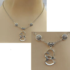 Silver Celtic Knot Double Heart Pendant Necklace Jewelry Handmade NEW Fashion
