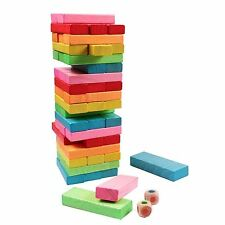 CHILDREN WOODEN BLOCK TOWER GAME TUMBLING STACKING WOOD KIDS JENGA GAME