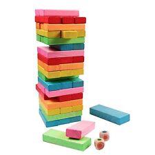 CHILDREN WOODEN BLOCK TOWER GAME TUMBLING STACKING WOOD KIDS JENGA GAME