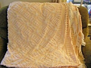 "Vintage Pink & White Chenille Bedspread 96"" x 102"""