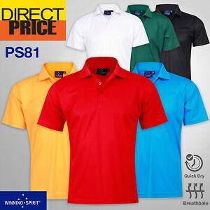 Verve Polo Shirts Men's CoolDry Soild Colour Short Sleeve Casual Sport PS81