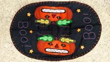 "21"" Handmade Wool Flannel Embroidered BOO Jack O Lantern HALLOWEEN Table Runner"