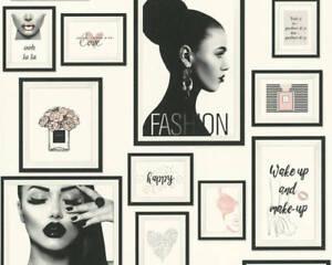 Metropolitan Stories Lola Paris Tapete mit Bilderrahmen 369181 grau schwarz wei