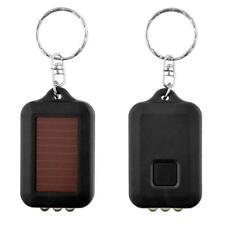 Mini Solar Power 3LED Light Keychain Keyring Torch Rechargeable Flashlight FT
