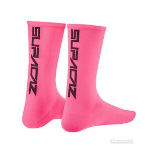 Supacaz SupaSox STRAIGHT UP Tall Cycling Socks NEON PINK One Pair