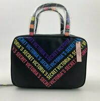 Victoria's Secret Rainbow Train Case Travel Makeup Cosmetic Bag - Black - NWT