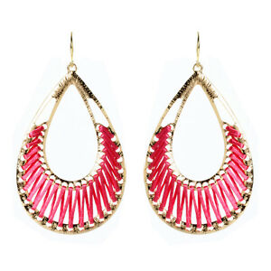 Amrita Singh Gold Pink Silk Crosby Street Dangle Earrings ERC 1509 NWT