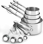 Stainless Steel Measuring Cups and Spoons Set with Long Riveted Handles, Cup to