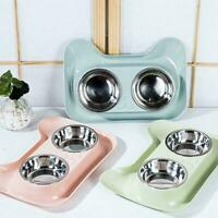 Steel Feeder Dog Cat Double Feeding Bowls Water Bowl Pet Food X9R3