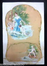 Ecole française XIXe, jeux d'enfants gouache & aquarelle, Cheret Chaplin? dessin