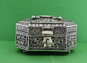 "Antique Indian silver Paan Betel Box casket cast flower design 5 x 4 x 3"" 270 gr"
