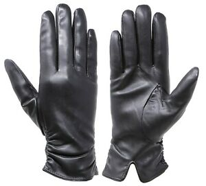 Touch Screen Faux leather Gloves Women Lined Thick Winter Warm Gloves Outdoor