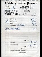 """PONT-D'AIN (01) HOTEL RESTAURANT """"AUBERGE DU MAS POMMIER"""" en 1965"""