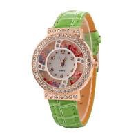 Women's Bling Watches Fashion Diamond Rhinestone Quartz Watch Leather Wristwatch