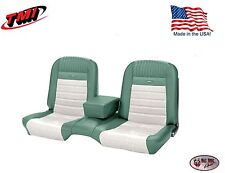 Deluxe PONY Seat Upholstery  Ford Mustang, Front Bench Seat - Turquoise & White
