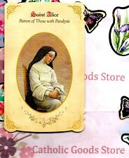 St Alice Healing Holy Card Folder with Medal (Patron of those with Paralysis)