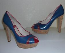 Nine West Blue & Red Leather Peep Open Toe Cork Heels Size 8.5 1/2 Shoes Pumps