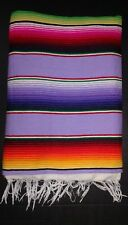 Mexican Serape Blanket  Lavender Striped Rainbow colors White Fringe XL
