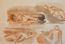 Vintage watercolor painting expressionist portrait nudes signed