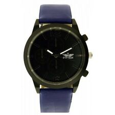 Softech Men's Black Dial Dark Blue PU Leather Strap Chrono Watch Analog Quartz