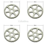 10 Cog Charms - Antique Silver  Wheel  Round Watch Parts Gears - LF 20mm