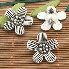 10pcs dark silver tone plum flower charms h3271