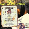 qty 50 Western Wanted Wild West Scroll Wedding Party Invitations Invites