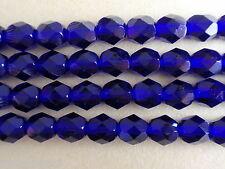 25 6mm Czech Firepolish Beads -- Cobalt