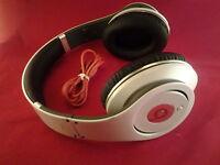 Used Original Monster Beats by Dr Dre STUDIO Earphones Headphones White Genuine