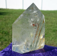 Layers o Green Chlorite PHANTOM & Rutilated Clear Quartz Crystal Point For Sale