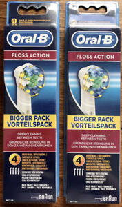 2x Oral-B Braun FLOSS ACTION Toothbrush Heads Electric Replacement 2x 4 Pack