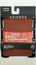 NEW! BIFOLD WALLET JUMBO RFID GEORGE MEN'S GENUINE BROWN LEATHER 24 CARD SLOTS