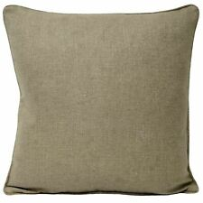 """FILLED PLAIN WOVEN LATTE PIPED 22"""" - 56CM  CUSHION"""