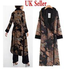 UK Womens Leisure Velvet Kimono Long Jacket Coats Parka Cardigan Outwear Dresses