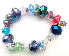 Multicolour Crystals & Clear Rondelle Spacer Elasticated Bracelet