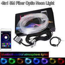 4in1 RGB LED Fiber Optic Car Interior Neon EL Strip Light bluetooth APP Remote