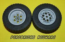 Lego Technic Technik Reifen, Räder 62,4 x 20S, 2 Stück, hellgraue Felgen NEU