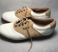 Foot joy Mens SoftJoys Terrains Sz 8 Brown White Suede Golf Shoes Style 98632