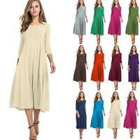 Women's Dresses Long Sleeve Scoop Neck Elegant Casual Flared Midi Swing Dress